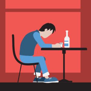 Алкоголик пьющий в одиночестве